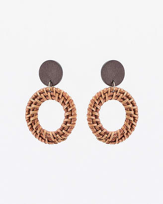 Le Château Straw & Wood Circular Drop Earrings