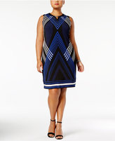 JM Collection Plus Size Grid-Print Shift Dress, Created for Macy's
