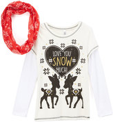 Beautees White 'Snow Much' Tee & Scarf - Girls