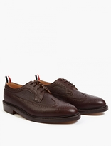 Thom Browne Brown Pebblegrain Leather Wingtip Brogue Shoes