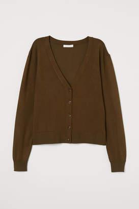 H&M Fine-knit Cardigan - Green