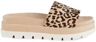 J/Slides Bibi Leopard Calf Hair Platform Slides