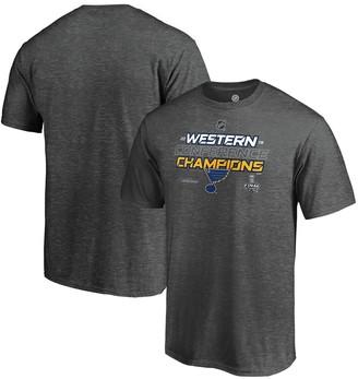 Men's Fanatics Branded Heather Charcoal St. Louis Blues 2019 Western Conference Champions Locker Room Big & Tall T-Shirt