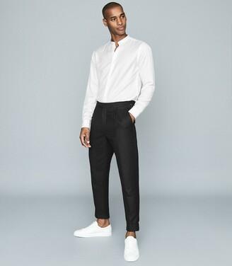 Reiss Mcalan - Regular Fit Grandad Collar Shirt in White