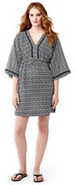 Lands' End Women's Cotton Silk Mid Length Caftan Cover-up-Black/White Tossed Leaves