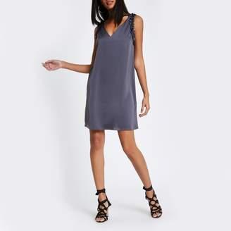 River Island Womens Dark Grey frill sleeveless slip dress