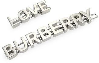 Burberry 2-Piece Silvertone Logo & Love Hair Clip Set