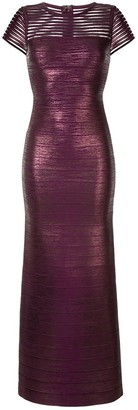 Herve Leger Shimmer Fitted Gown