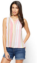 New York & Co. Soho Soft Shirt - Sleeveless Bubble-Hem Blouse - Stripe