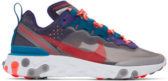 Nike Grey and Purple React Element 87 Sneakers