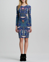 Printed Long-Sleeve Dress with Side Cutouts