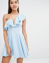 Rare London Plunge Ruffle Skater Dress