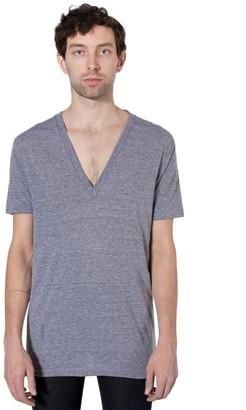 American Apparel Men Tri-Blend Deep V-Neck T-Shirt Size XS Athletic Grey