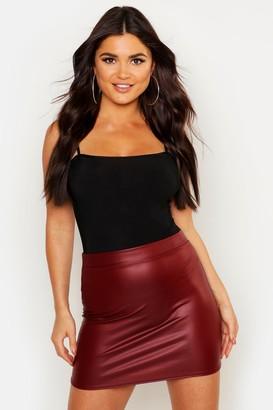 boohoo Matte Leather Look Stretch Mini Skirt