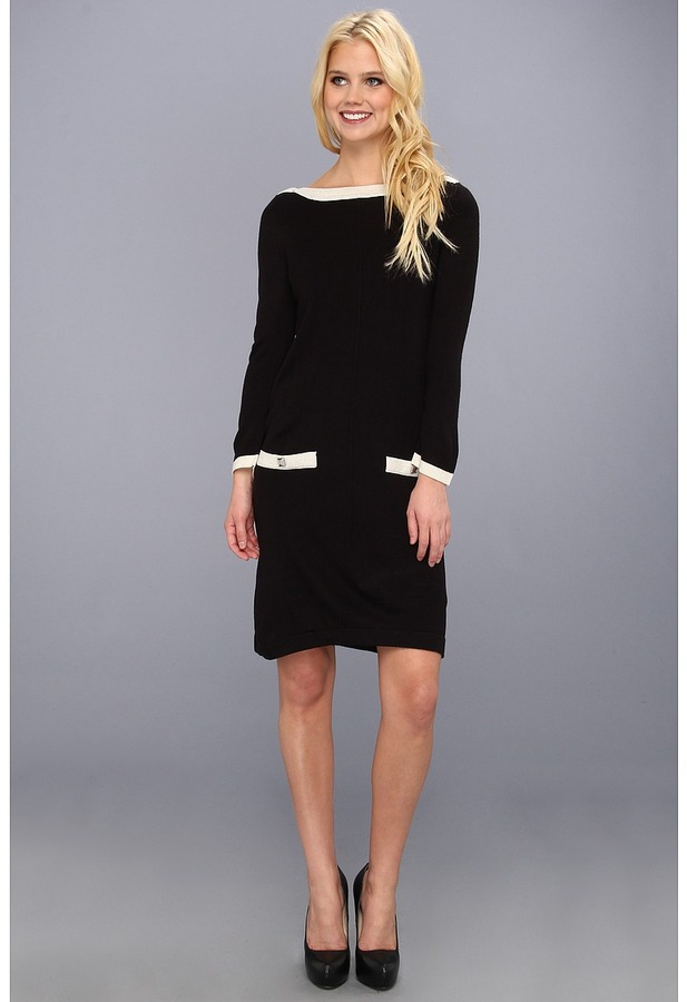 Nine West Boatneck Tunic Dress w/ Pockets (Black/Ivory) - Apparel