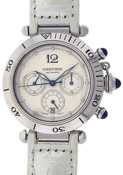 Cartier Pasha W31030H3 Stainless Steel White Dial & Leather Chronograph Automatic 38mm Mens Watch
