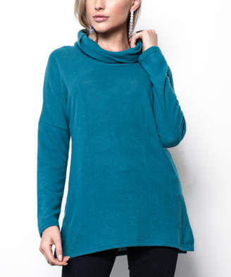 Milly Penzance Women's Pullover Sweaters teal - Teal Cowl Neck Tunic - Women & Plus