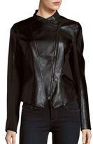 T Tahari Asymmetric Hem Zip-Front Moto Jacket