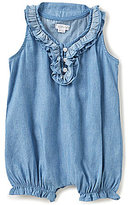 Mud Pie Baby Girls Newborn-18 Months Ruffled Chambray Bubble Romper