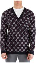 Gucci V Neck Jumper Sweater Pullover Gg Diamond