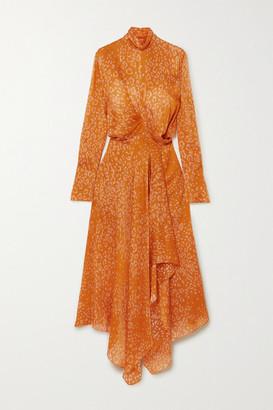 Petar Petrov Abia Wrap-effect Leopard-print Silk-satin Dress - Orange