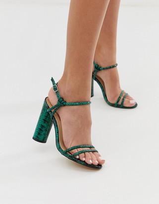 London Rebel strappy snake block heeled sandals-Green