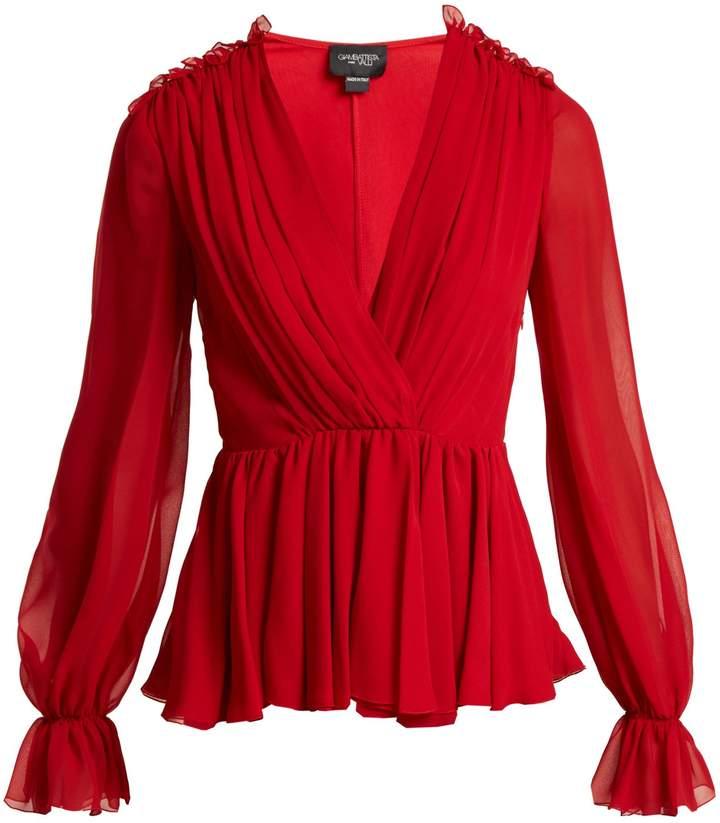 Giambattista Valli Gathered silk-chiffon blouse