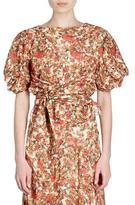 Isabel Marant Fleming Belted Floral-Burnout Short-Sleeve Wrap Top