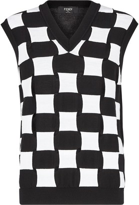 Fendi Check Wool Knitted Sweater Vest