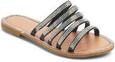 Ameta Women's Sandals Black - Black Rhinestone-Accent Five-Strap Eva Slide - Women