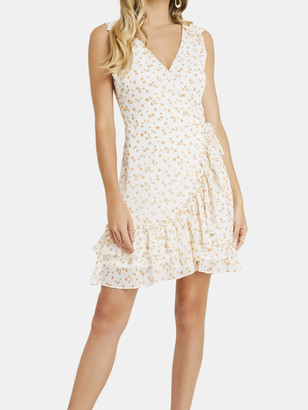 Lush Printed Sleeveless Wrap Mini Dress