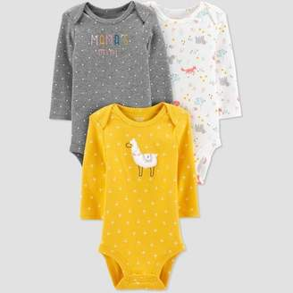 Carter's Just One You made by carter Baby Girls' 3pk Long Sleeve Llama Bodysuits - Just One You® made by Yellow