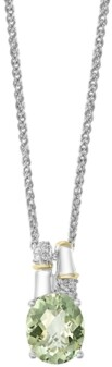 Effy Green Amethyst (3 ct. t.w.) Diamond Accent Necklace in 18k Yellow Gold and Sterling Silver