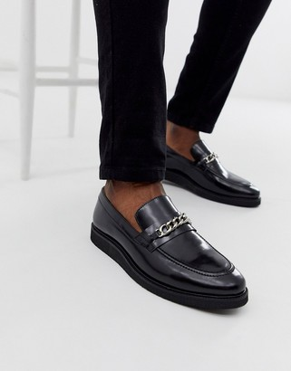 Walk London del chain loafers in black high shine