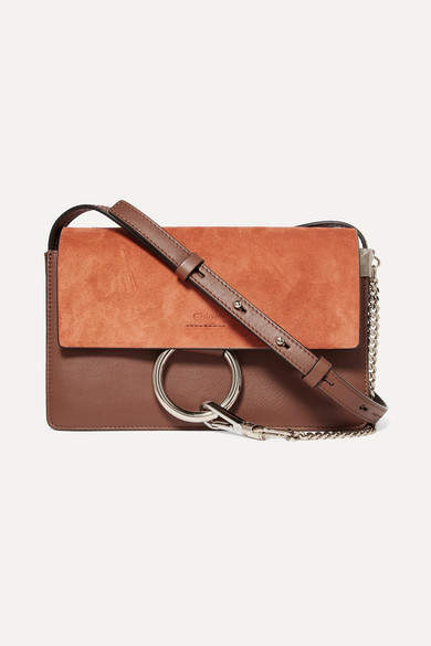 Chloé Faye Small Leather And Suede Shoulder Bag - Tan