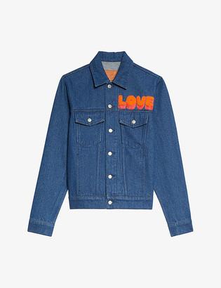 Sandro Slogan-print cropped denim jacket