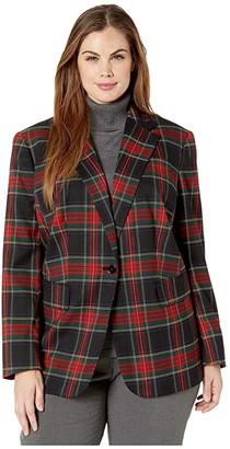 Lauren Ralph Lauren Plus Size Tartan-Print Blazer (Polo Black/Red Multi) Women's Clothing