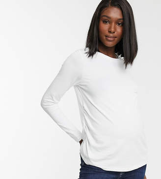 Asos DESIGN Maternity ultimate organic cotton long sleeve t-shirt with crew neck in white
