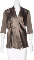 Brunello Cucinelli Silk Three-Quarter Sleeve Top