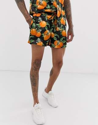 Urban Threads satin shorts in orange print-Black
