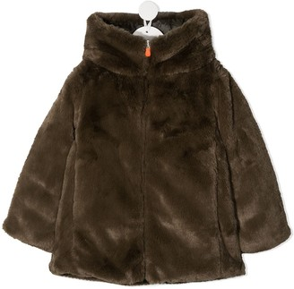Save The Duck Kids Hooded Faux-Fur Jacket