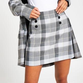 River Island Womens Cream check print front button mini skirt