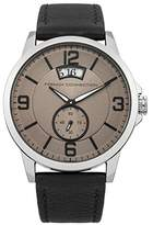 French Connection Men's Quartz Watch with Black Dial Analogue Display and Black Leather Strap