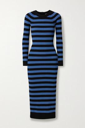 MICHAEL Michael Kors Striped Stretch-knit Midi Dress - Blue