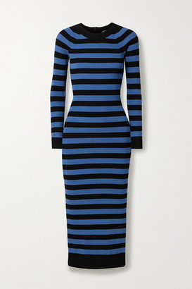 MICHAEL Michael Kors Striped Stretch-knit Midi Dress - Blue
