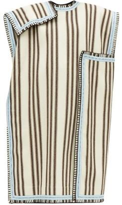 Jil Sander Knitted Stripe Poncho - Womens - Cream Multi