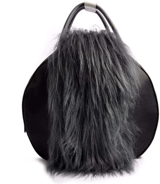 Ostwald Finest Couture Bags Circle Soft Large In Nero Black & Grey Mottled Island Lamb