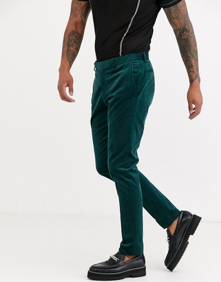 Topman skinny suit trousres in green cord