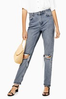 Topshop Womens Grey Cast Double Rip Mom Tapered Jeans - Grey
