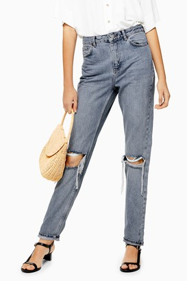Topshop Grey Cast Double Rip Mom Tapered Jeans